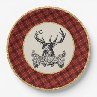 Woodland Deer Holiday Plaid Paper Plate