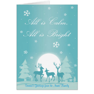 Woodland Deer in Snow Personalized Christmas Card
