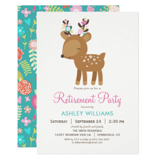 Woodland Deer Retirement Party Invitation