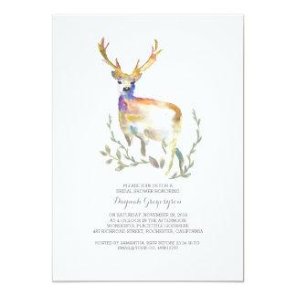 "Woodland Deer Rustic Bridal Shower 5"" X 7"" Invitation Card"