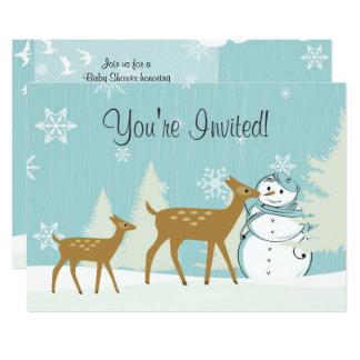 Woodland Deer ~ Snowman Winter Baby Shower Invite