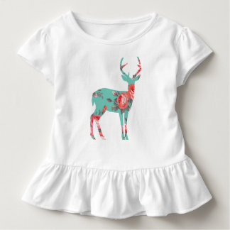 Woodland Deer Toddler Ruffle Tee, White Toddler T-shirt
