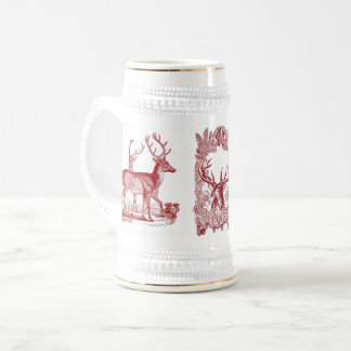 Woodland Deer White and Gold Stein