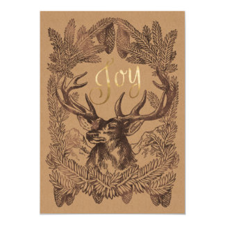 Woodland Deer Winter Holiday Season's Greetings Card