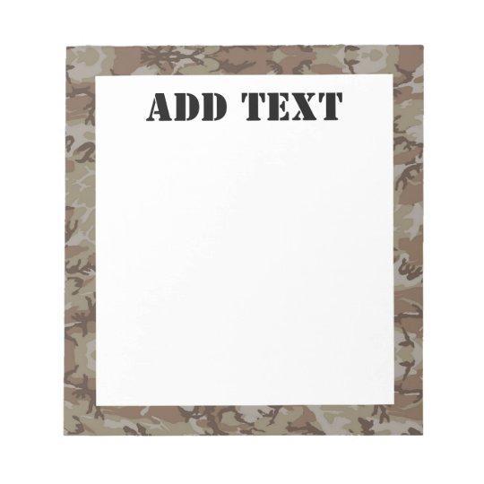 Woodland Desert Military Camouflage Notepad