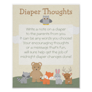 "Woodland ""Diaper Thoughts"" Poster"