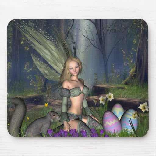 Woodland Easter Egg Fairy Mouse Pads