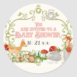 Woodland Fairy Tale Baby Shower Invitations Cards Round Sticker