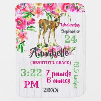 Woodland Fawn Deer Watercolor Floral Baby Monogram Baby Blanket