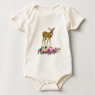 Woodland Fawn Deer Watercolor Floral Baby Monogram Baby Bodysuit