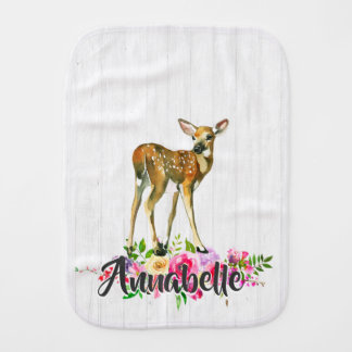 Woodland Fawn Deer Watercolor Floral Baby Monogram Burp Cloth