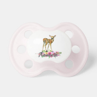 Woodland Fawn Deer Watercolor Floral Baby Monogram Pacifier