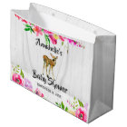 Woodland Fawn Deer Watercolor Floral Baby Shower Large Gift Bag