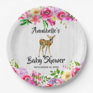 Woodland Fawn Deer Watercolor Floral Baby Shower Paper Plate