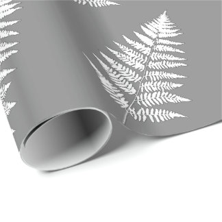 Woodland Fern 1, Gray / Grey and White Wrapping Paper