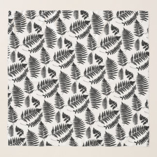 Woodland Fern Pattern, Black and White Scarf