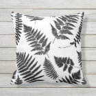 Woodland Fern Pattern, Black and White Throw Pillow