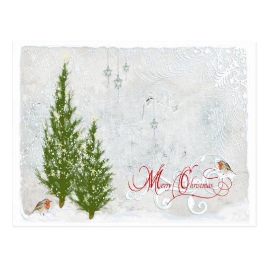 Woodland First Snow Christmas Postcard