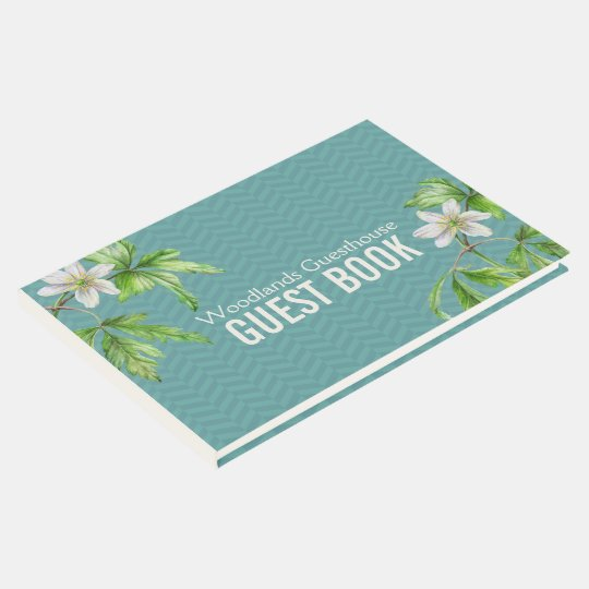 Woodland floral art teal chevron guest book