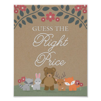 Woodland Florals Baby Shower Guess Price Game Sign