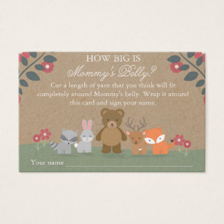 Woodland Florals Baby Shower Mommy's Belly Game Business Card