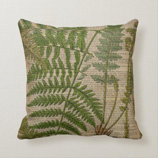woodland foliage french botanical print fern throw pillow