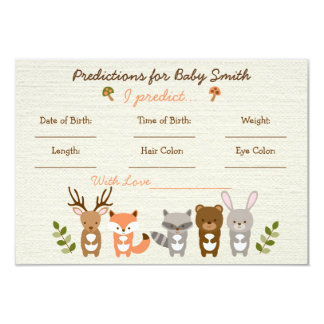 """Woodland Forest Animal Predictions For Baby Cards 3.5"""" X 5"""" Invitation Card"""