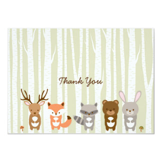 Woodland Forest Animal Thank You Cards
