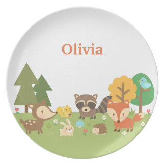 Woodland Forest Animals and Creatures For Kids Plate
