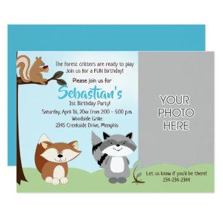 Woodland Forest Animals Photo Birthday Card