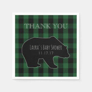 Woodland Forest Boy Baby Shower | Lumberjack Plaid Disposable Napkins