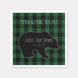 Woodland Forest Boy Baby Shower | Lumberjack Plaid Paper Napkin