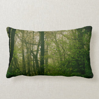 Woodland Forest Green Tree Vegetation Earthy Lumbar Pillow