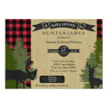 "Woodland Forest Lumberjack Plaid Wood Baby Shower 5"" X 7"" Invitation Card"