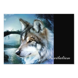 woodland forest moonlight full moon wolf card
