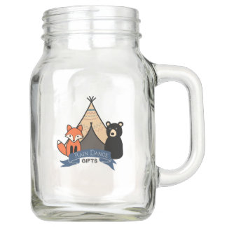 Woodland Fox and Bear Mason Glass with handle Mason Jar