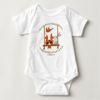 Woodland Fox and Bunny Swing Baby Bodysuit