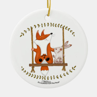 Woodland Fox and Bunny Swing Ceramic Ornament