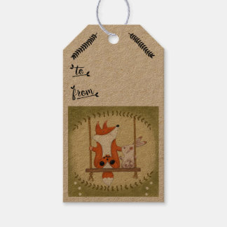 Woodland Fox and Bunny Swing Gift Tags
