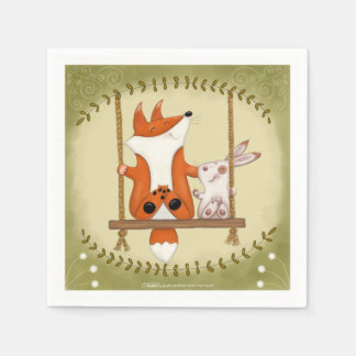Woodland Fox and Bunny Swing Paper Napkins