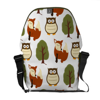 Woodland Fox and Owl Nature Theme Messenger Bag