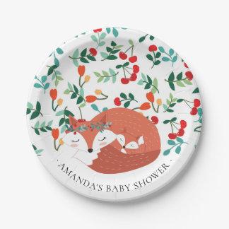 "Woodland Fox Baby Shower 7"" Plate"