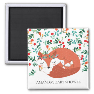 Woodland Fox Baby Shower Favour Magnet