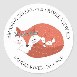 Woodland Fox Baby Shower Return Address Label
