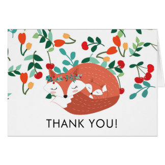 Woodland Fox Baby Shower Thank You Note Card