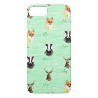 Woodland fox badger stag deer print hipster foxes iPhone 7 case