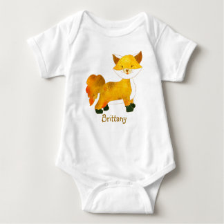 Woodland Fox + Customizable Name Baby T-shirts