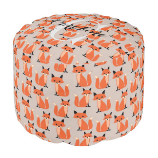 Woodland fox cute hipster foxes name initial pouf