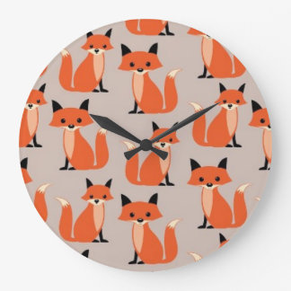 Woodland fox cute retro whimsical hipster foxes large clock