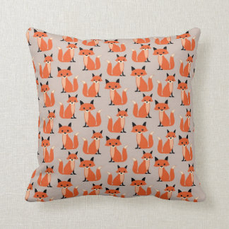 Woodland fox cute retro whimsical hipster foxes throw pillow